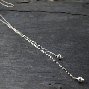 Long Silver Lariat Necklace