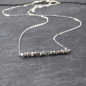 Raw Grey Diamond Silver Necklace