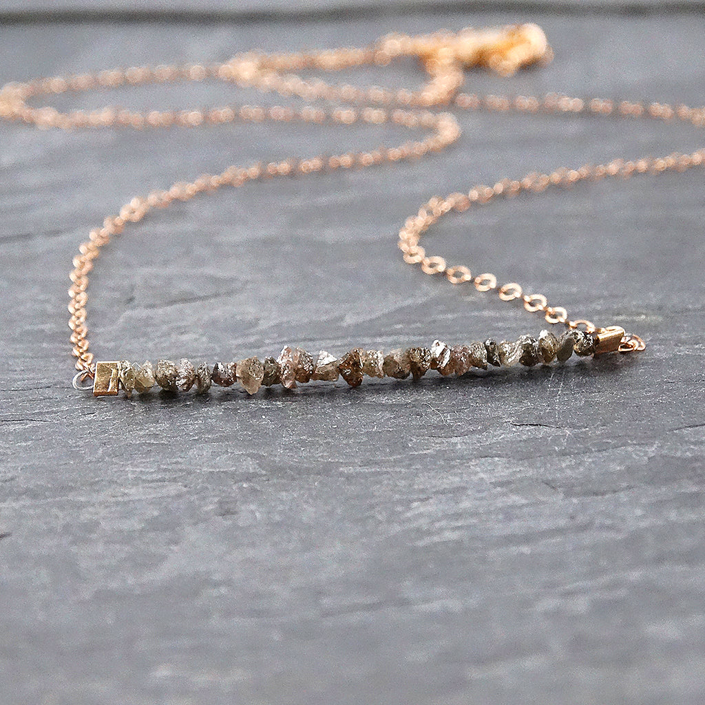 Raw Chocolate Diamond Rose Gold Necklace