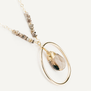 Raw Chocolate Diamond & Smoky Quartz Pendant Necklace