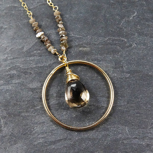 Raw Chocolate Diamond & Smoky Quartz Necklace