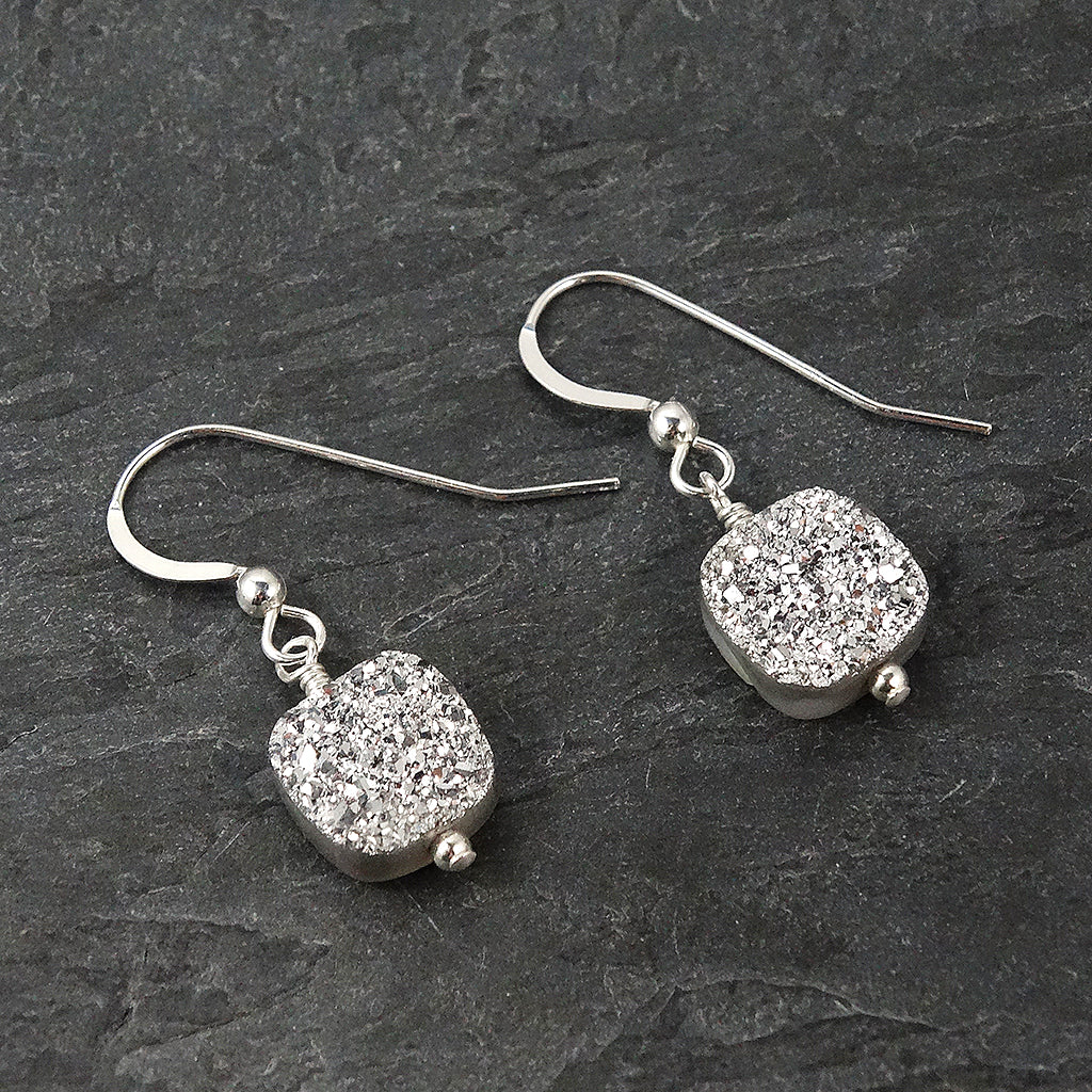 Silver Druzy Drop Earrings