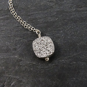 Silver Druzy Pendant Necklace