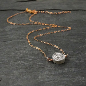 Rose Gold Druzy Pendant Necklace
