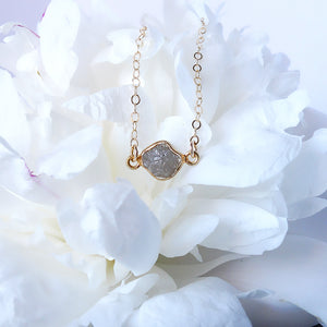Raw White Diamond Necklace