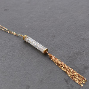 Long Swarovski Gold Tassel Necklace