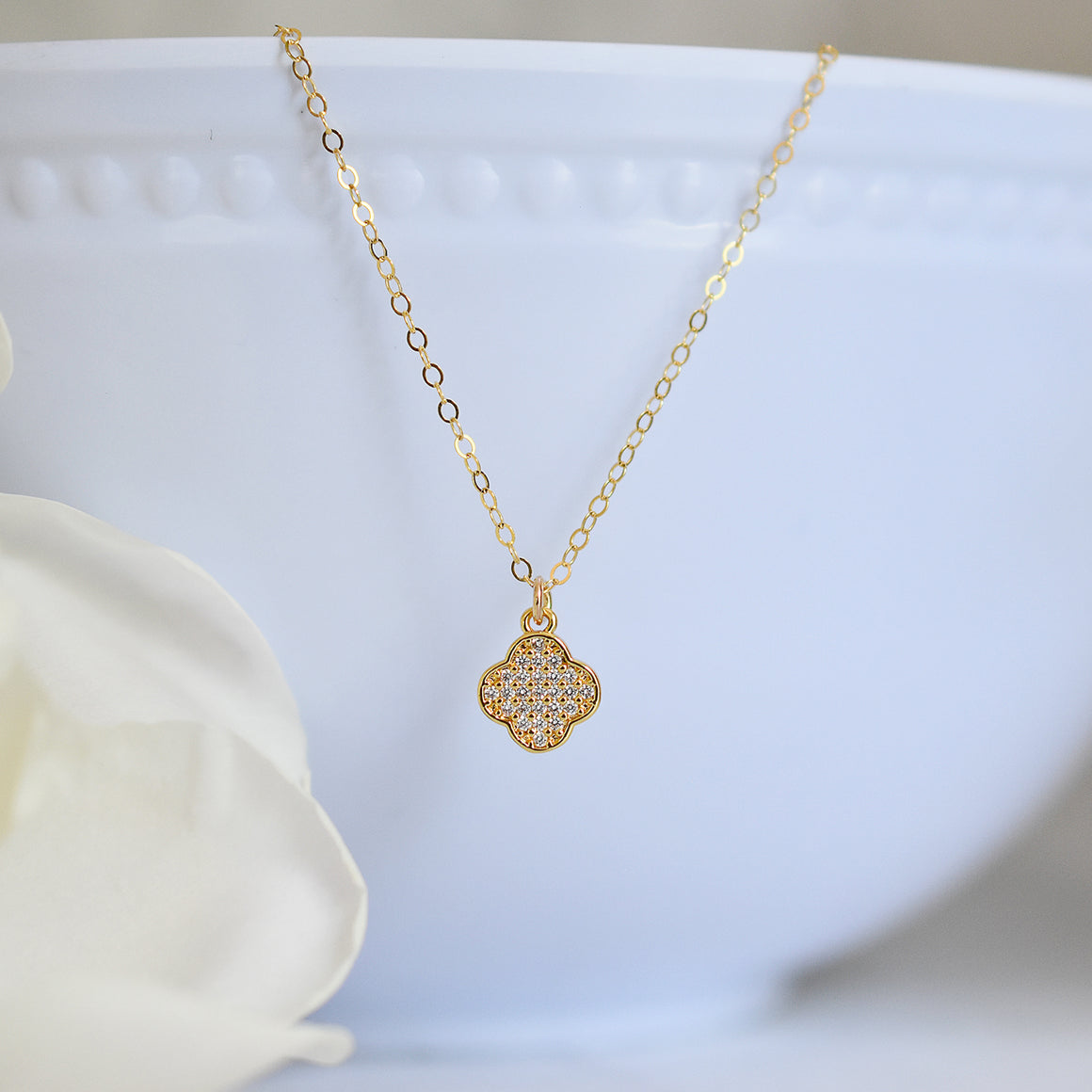 Sparkly Gold Clover Necklace