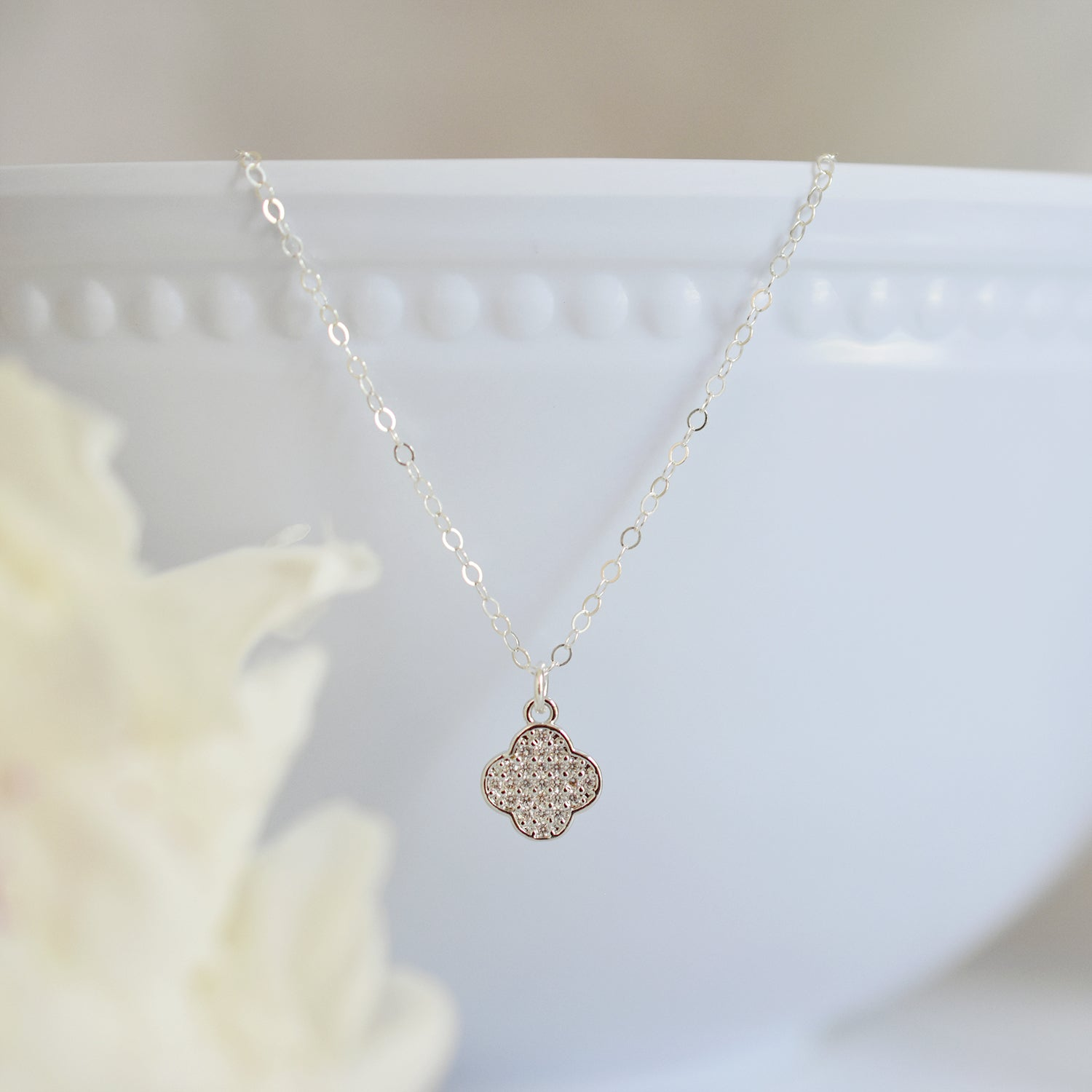 Crystal Clover Silver Necklace