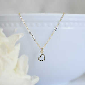 Tiny Gold and Black Heart Necklace