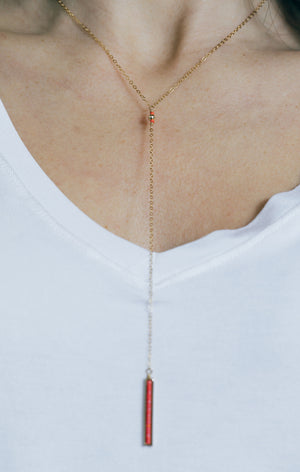 Gold and Coral Lariat Necklace