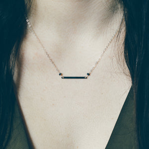 Raw Black Diamond Pendant Necklace