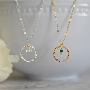 Birthstone Circle Pendant Necklace