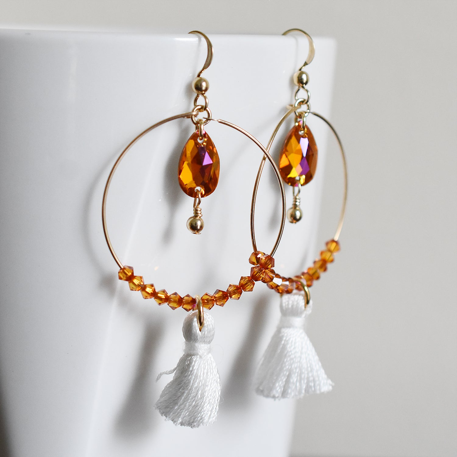 Coral and Gold Tassel Hoop Earrings