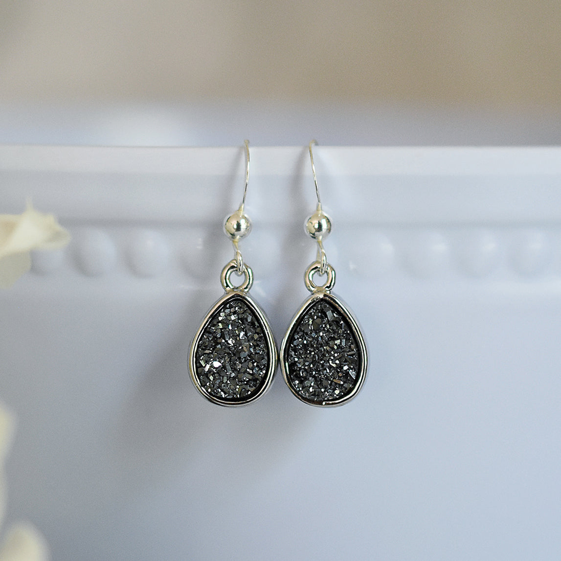 Black Druzy Teardrop Earrings