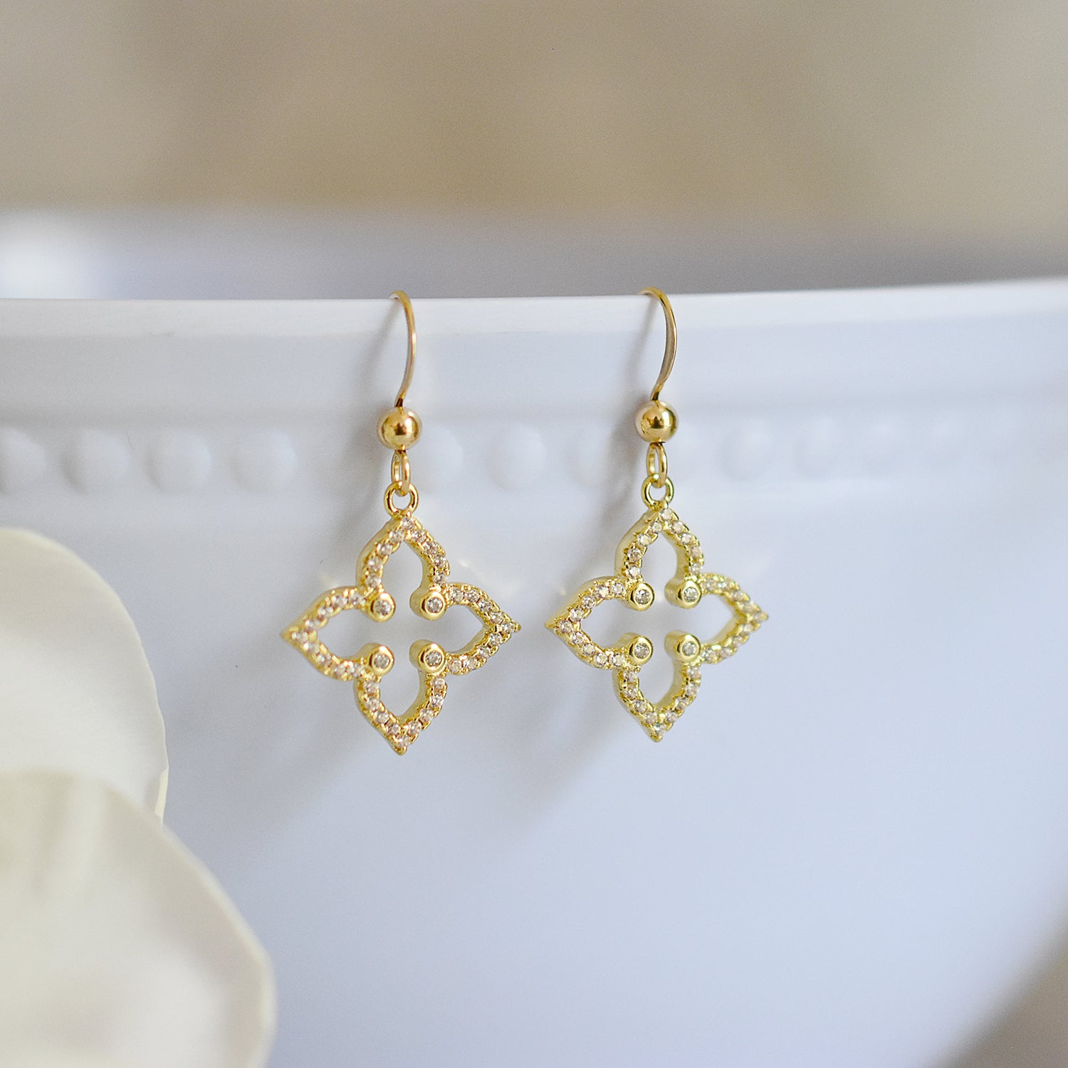 Gold Quatrefoil Earrings