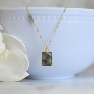 Rectangular Labradorite Gold Vermeil Necklace