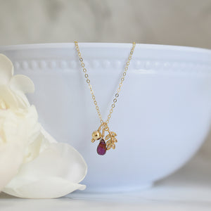 Garnet Gold Charm Necklace