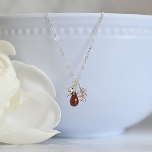 Garnet Silver Charm Necklace