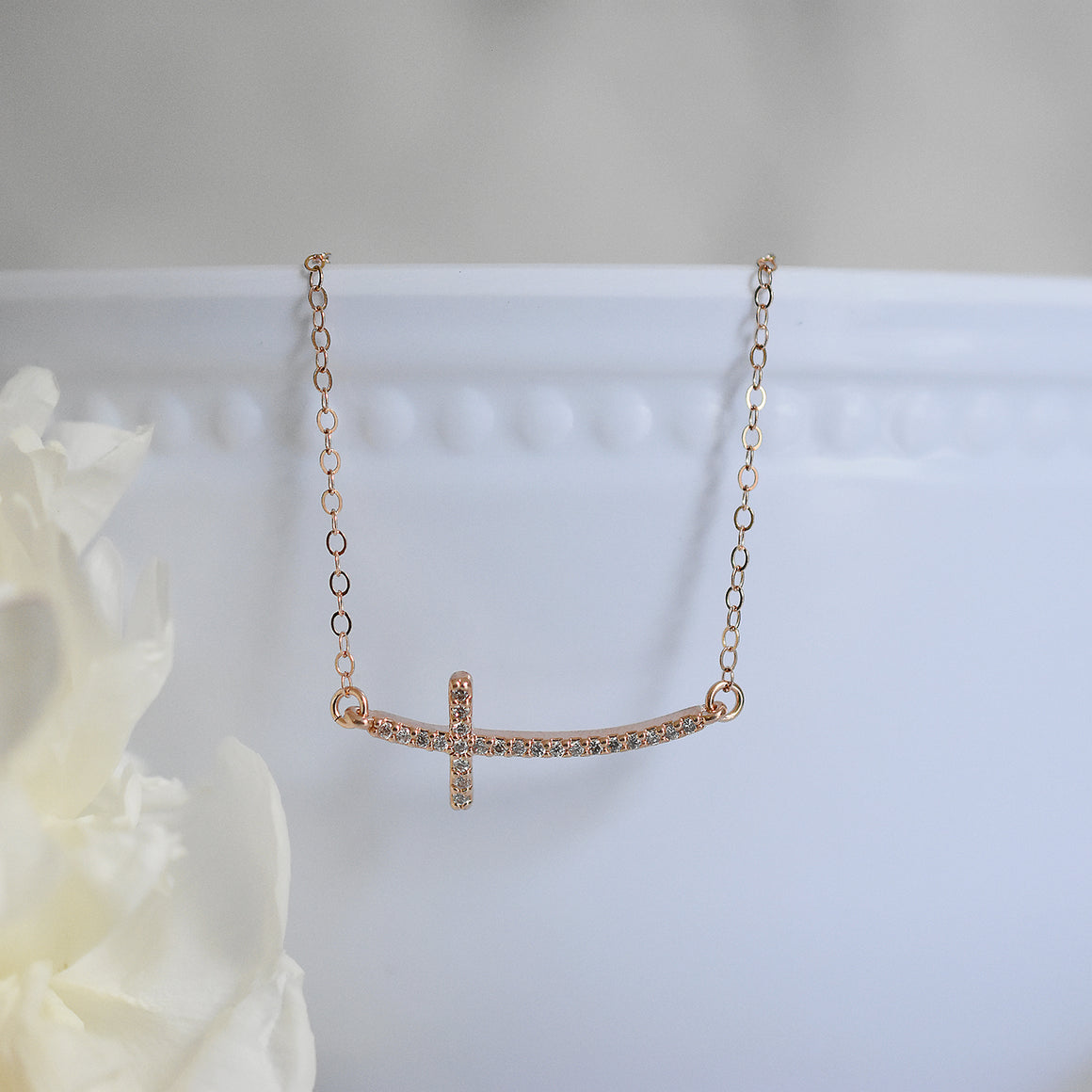 Rose Gold Sideways Cross Necklace