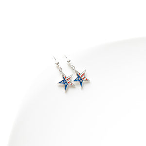 Sterling Silver Patriotic Star Earrings