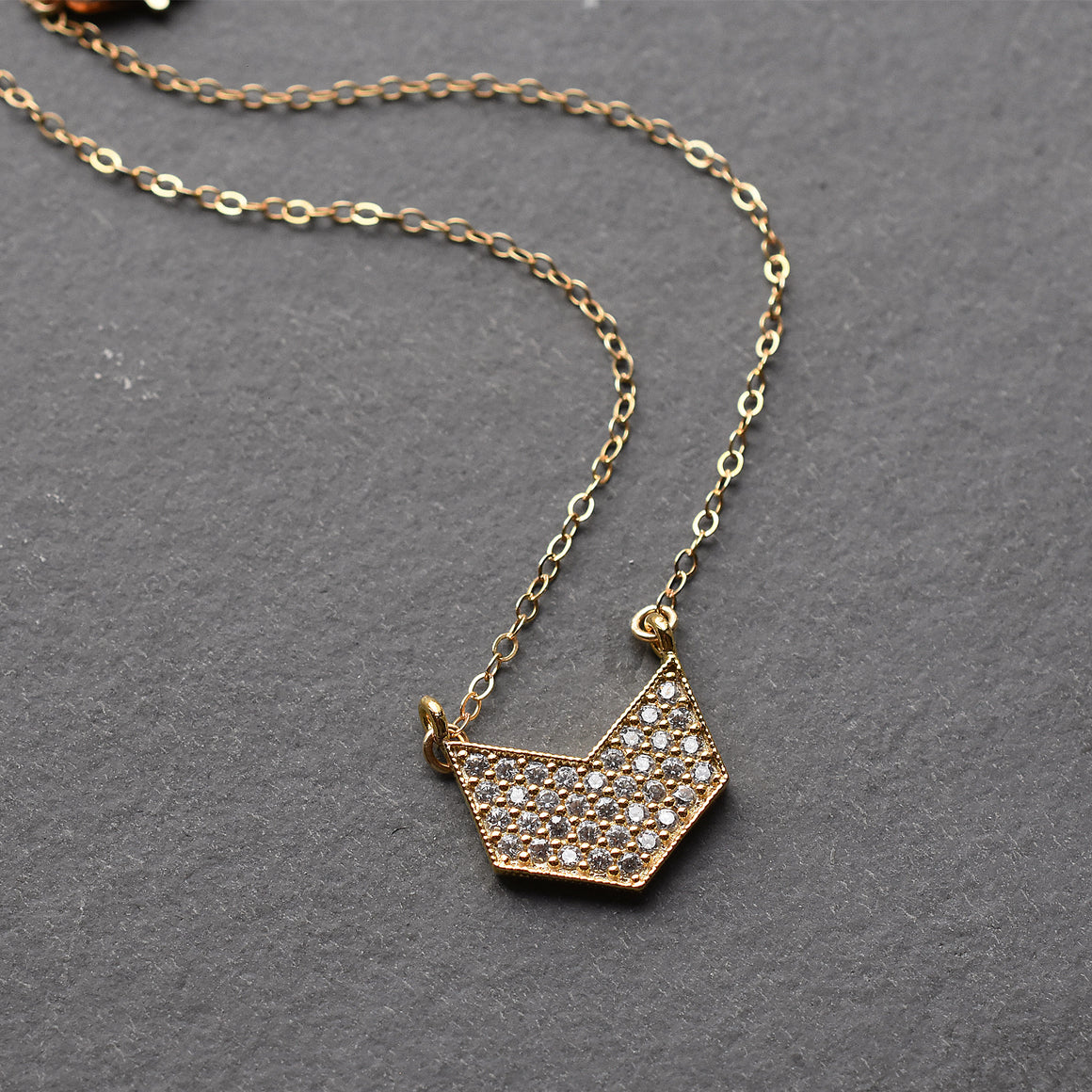 Gold Chevron Pendant Necklace