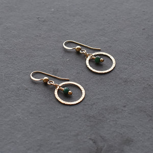 Gold & Emerald Drop Earrings