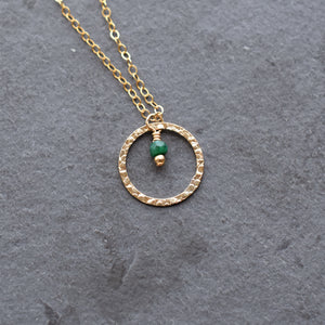 Emerald Circle Gold Pendant Necklace