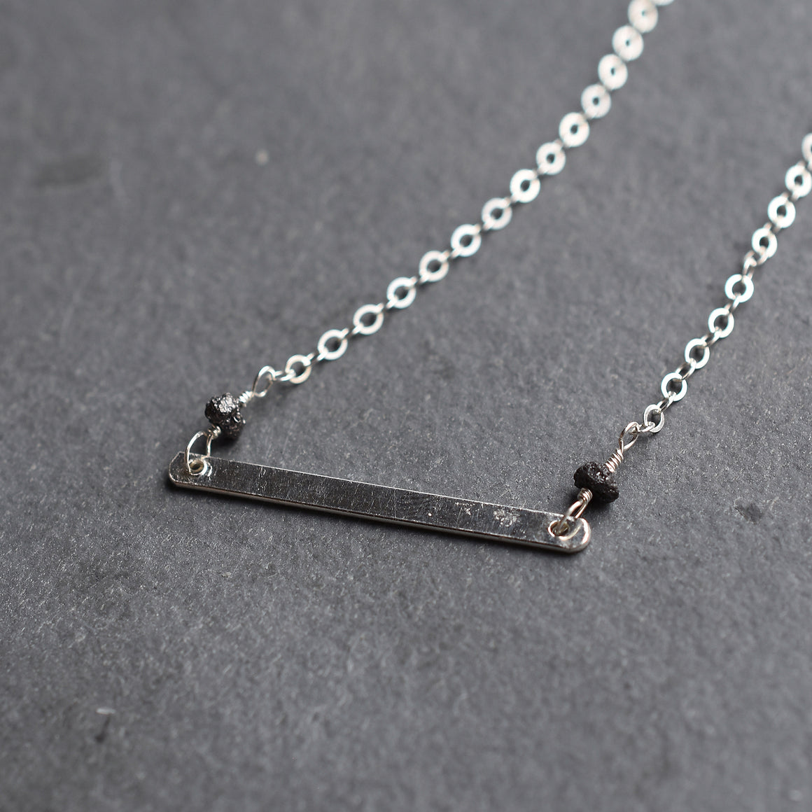 Black Diamond Silver Bar Pendant Necklace