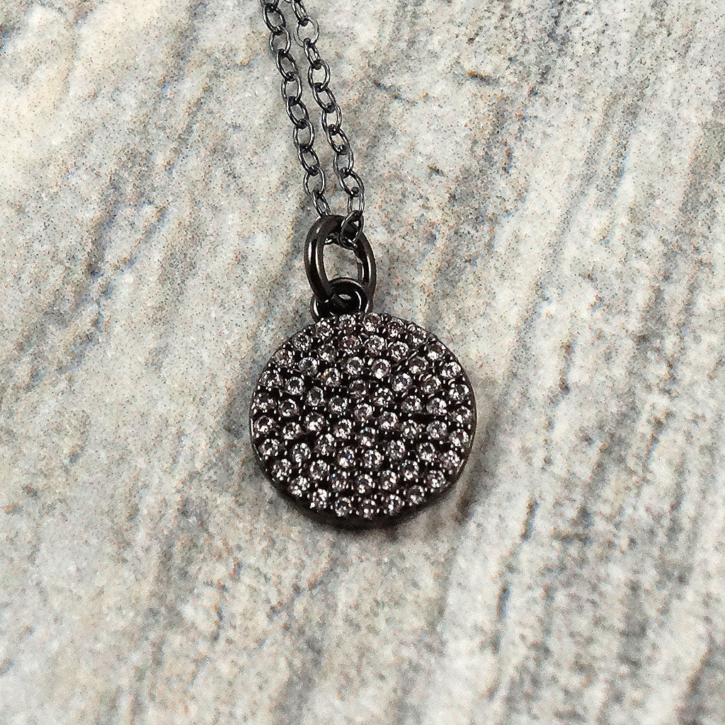 Long Black Oxidized Silver Necklace