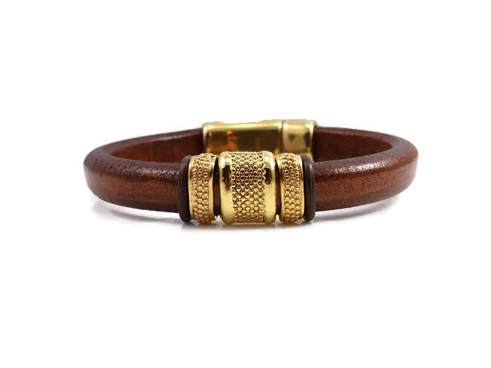 Brown and Gold Leather Bracelet