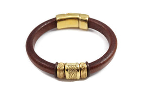 Men's Gold Leather Bracelet