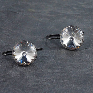 Crystal Gunmetal Drop Earrings