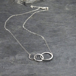 Silver 3 Rings Necklace