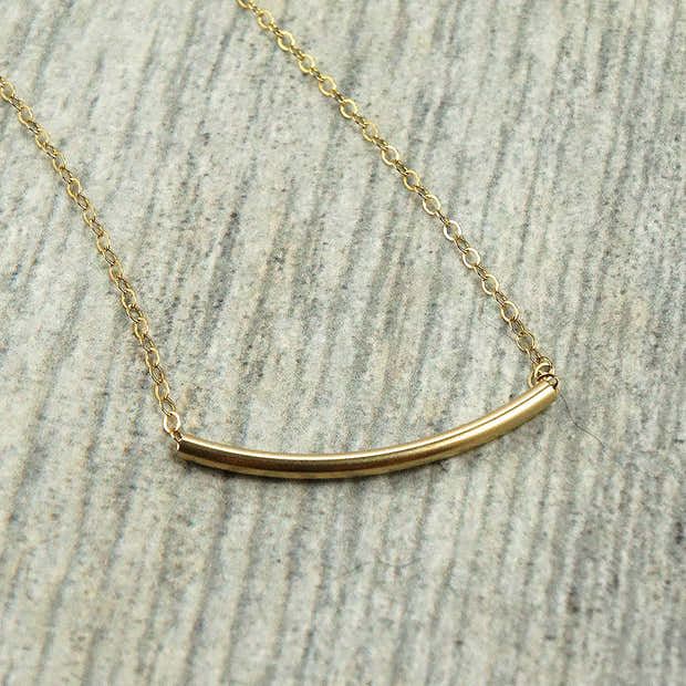 Gold Curved Bar Necklace 1