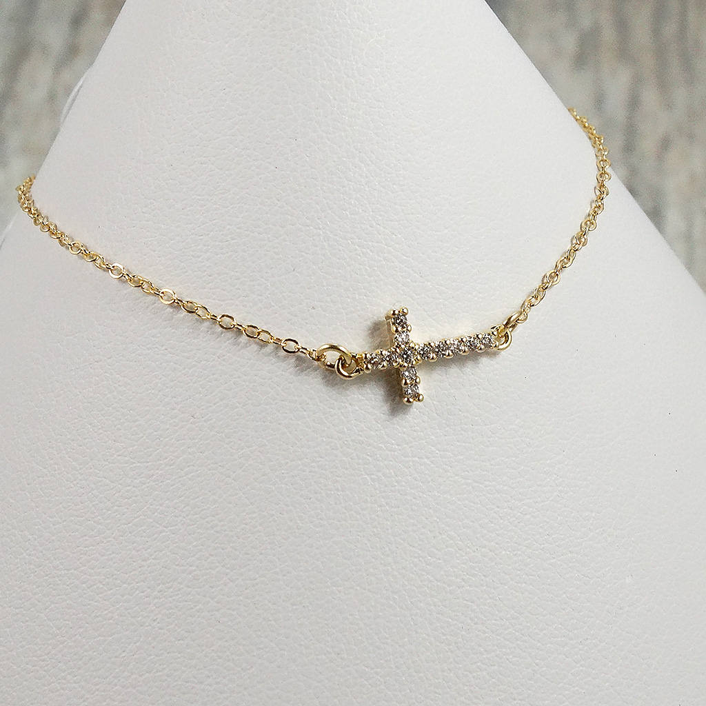 Sideways Gold Cross Bracelet