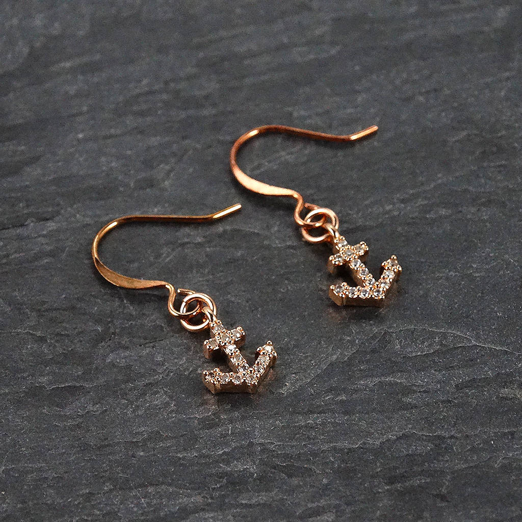 Rose Gold Anchor Earrings