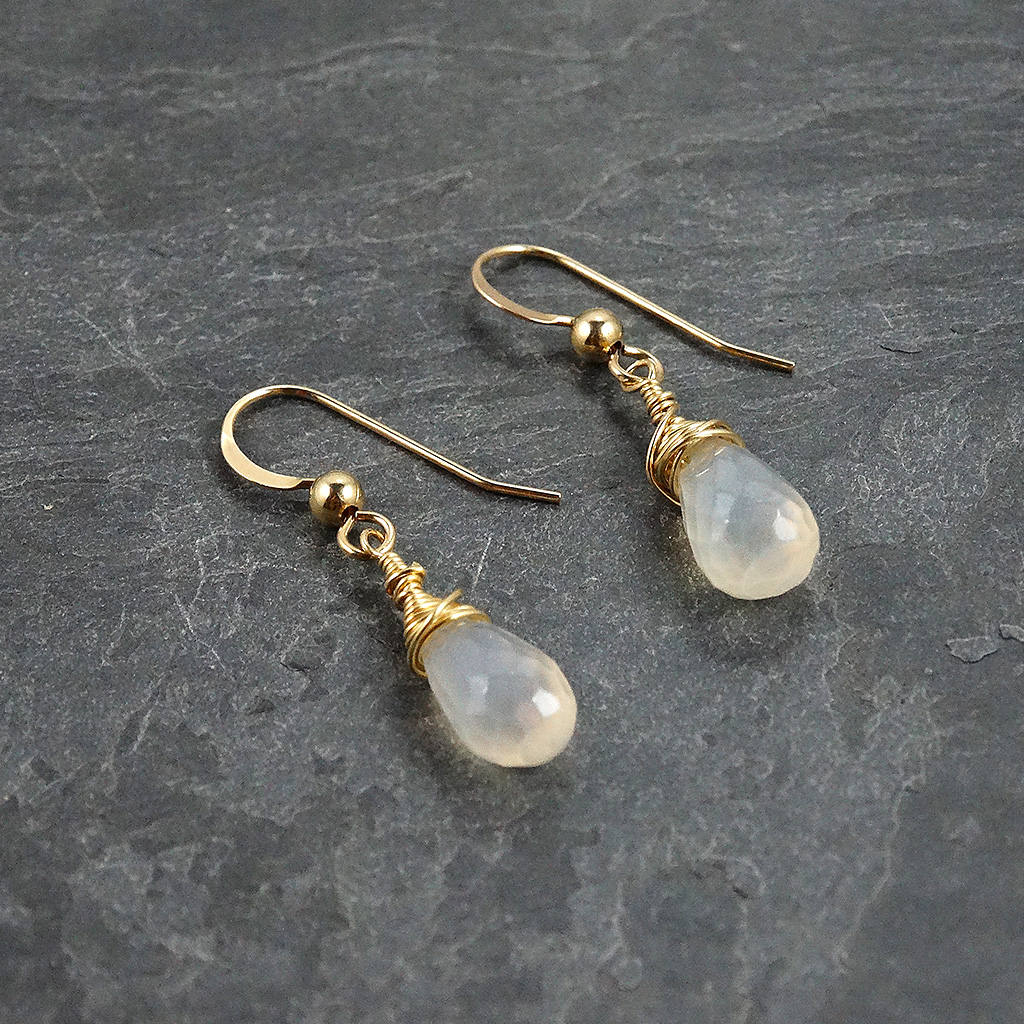 Pearl Chalcedony Earrings