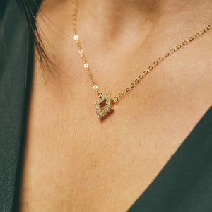 Gold Diamond Shaped Pendant Necklace