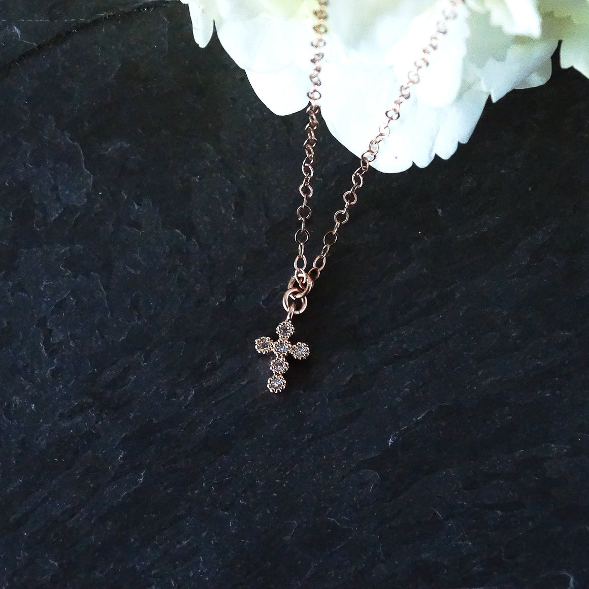 Rose Gold Tiny Cross Necklace