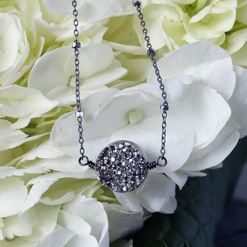 Oxidized Silver Charcoal Grey Druzy Necklace