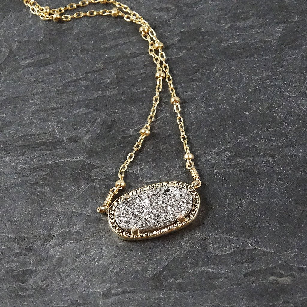 Gold and Silver Druzy Necklace