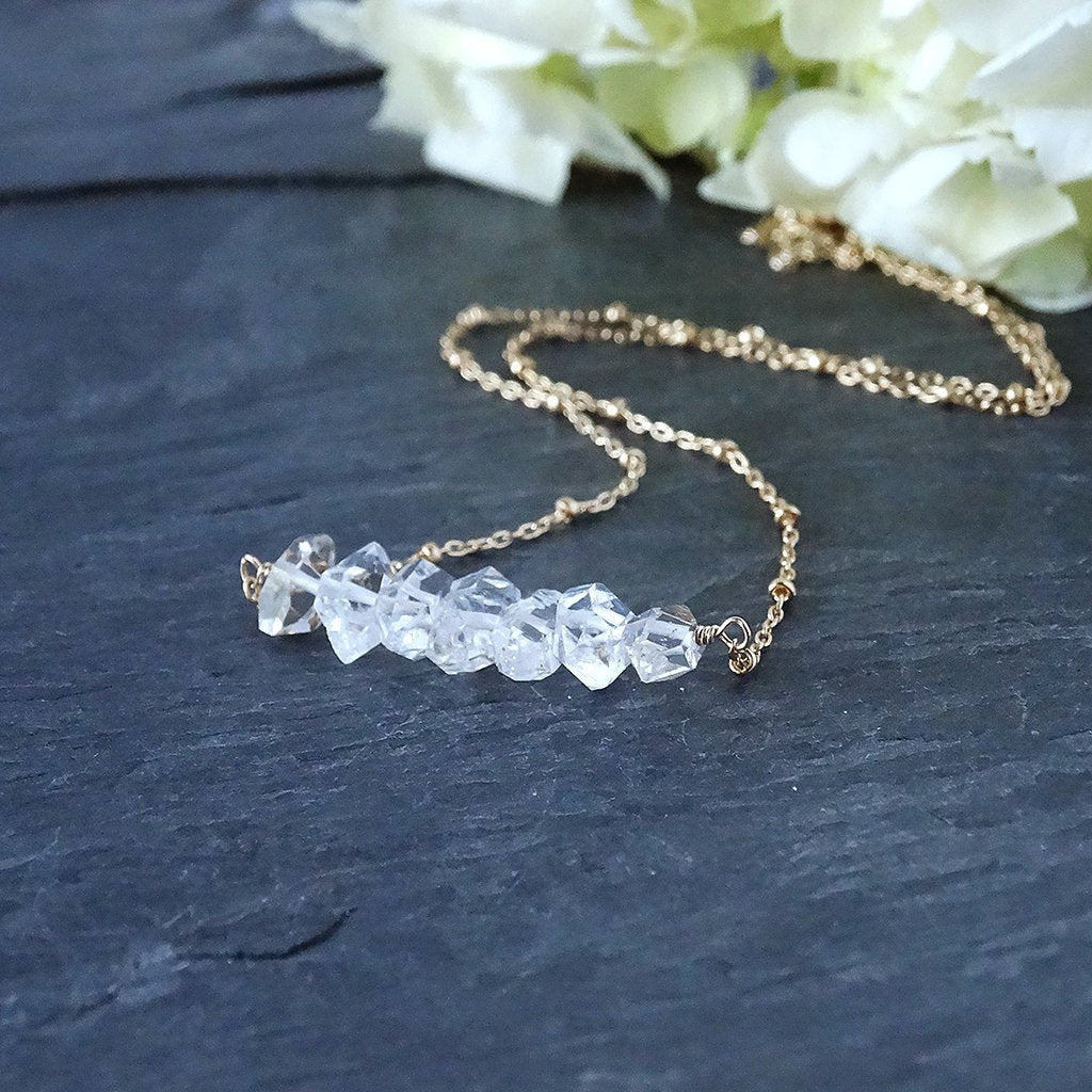 Gold Herkimer Diamond Necklace