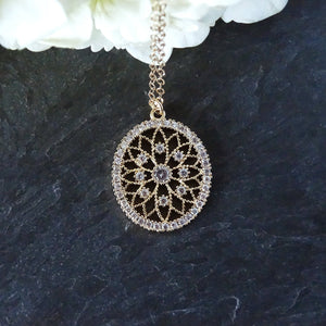 Gold Vintage Inspired Pendant Necklace