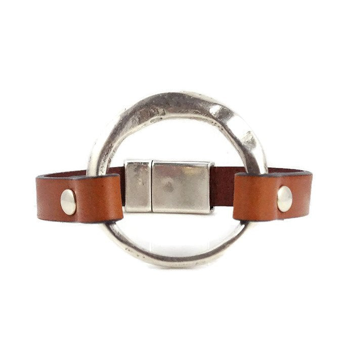 Tan Leather Bracelet with Silver Ring