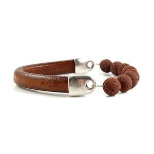 Brown Leather & Lava Rock Bracelet