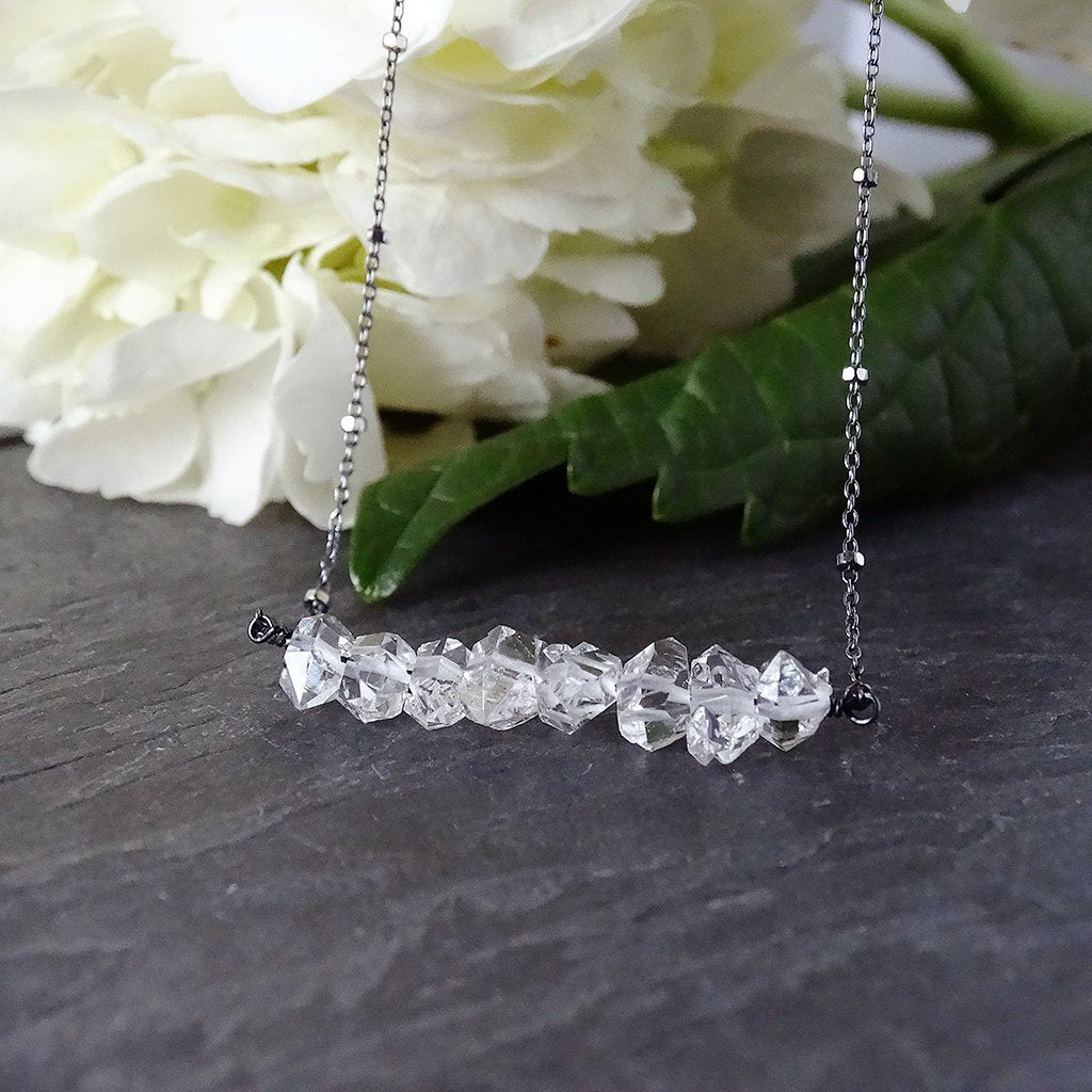 Herkimer Diamond Oxidized Silver Necklace