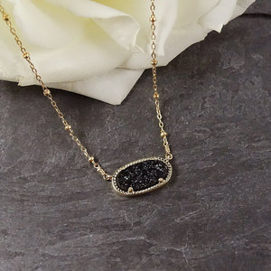 Black & Gold Druzy Pendant Necklace