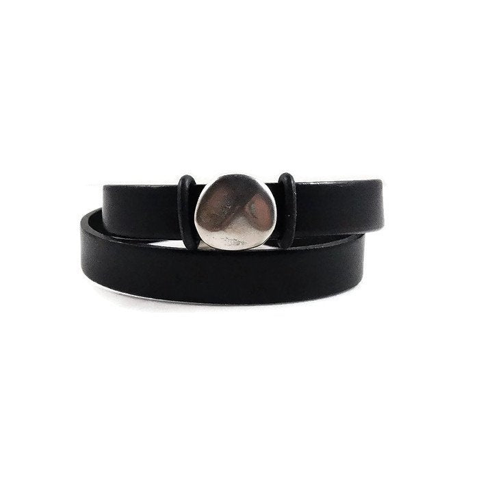 Chunky Black Leather Cuff