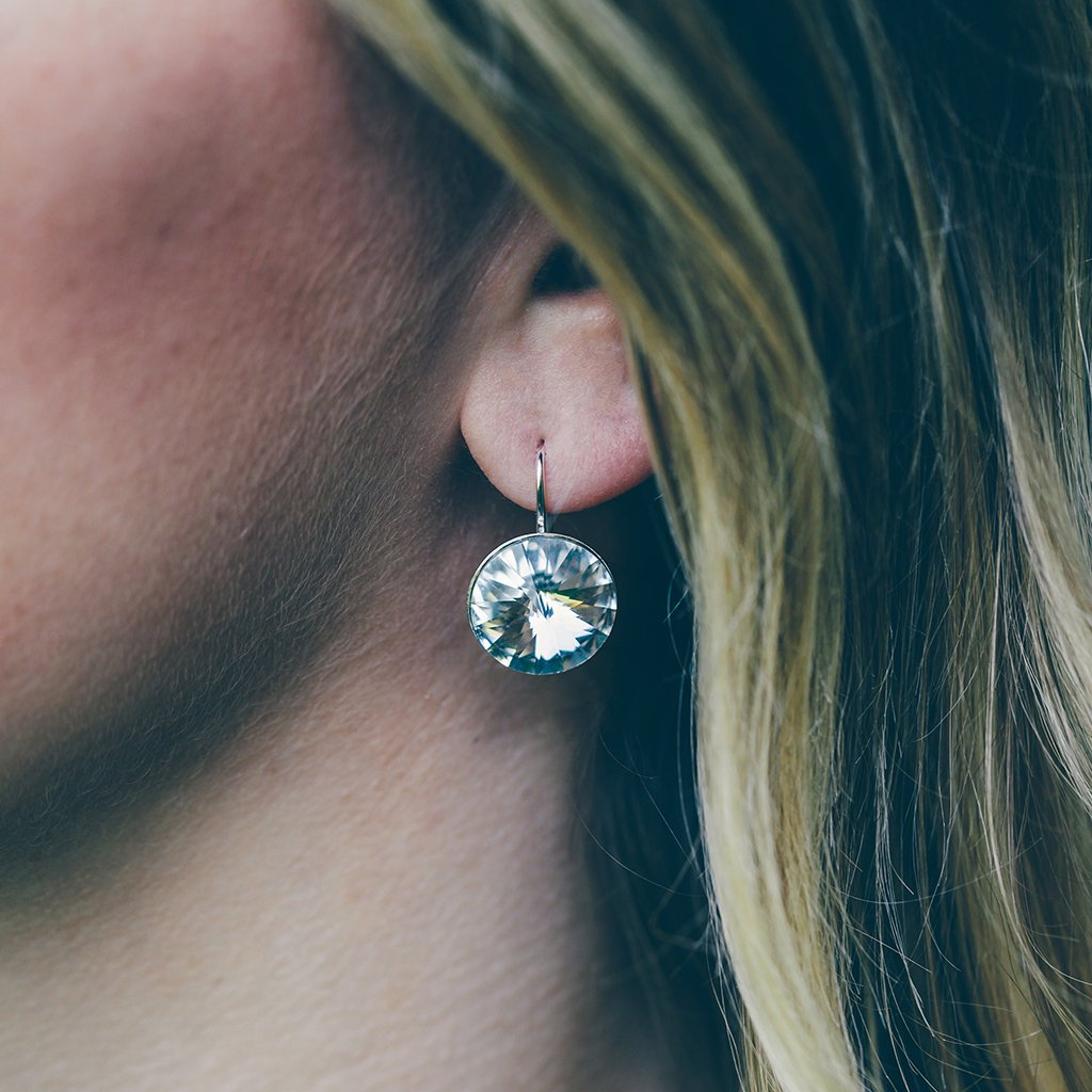 Sparkly Circle Drop Earrings