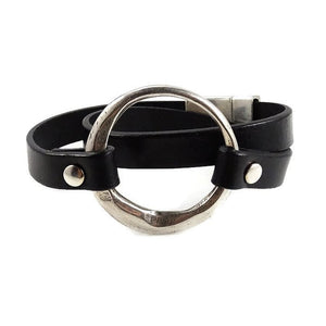 Silver & Black Leather Statement Bracelet